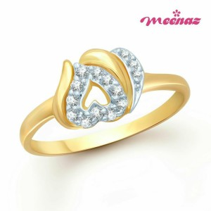 Meenaz Gold And Rhodium Plated Cz Ring