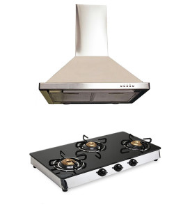 Hawk Gas Cooktop and Alfa Chimney with Lifetime Warranty