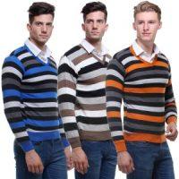VSI - Combo Of 3 Striped V-Neck Sweaters
