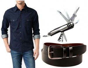 Combo of Koutons Denim Shirts With Leather Belt And Swiss Knife
