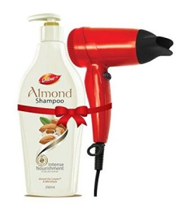 Dabur Almond Shampoo Intense Nourishment, 350ml with Hair Dryer