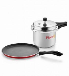 Pigeon Home Starter Kit - 3 L Pressure Cooker + Non Stick Tawa