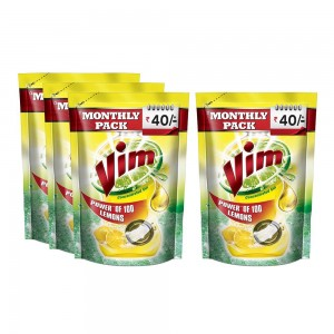 Vim Lemon Dishwash Gel Refill Pouch - 225 ml (Buy 3 Get 1 Free)
