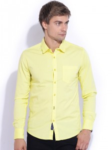 Freehand Yellow Slim Fit Casual Shirt